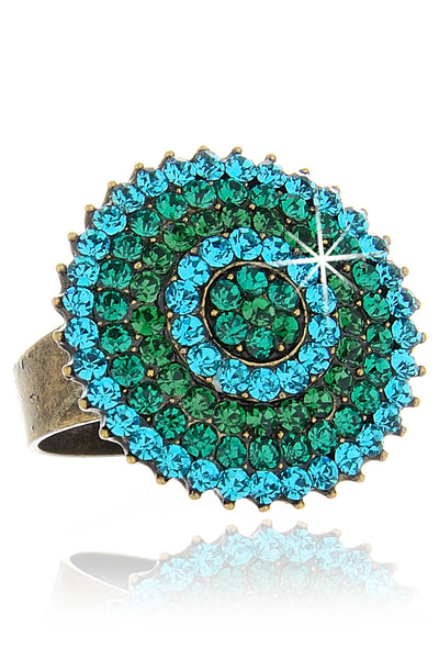 ALBA Green Round Crystal Ring