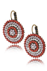 ALBA Coral Round Crystal Earrings