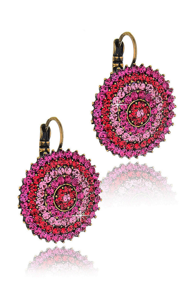 Alba Fuchsia Round Crystal Earrings
