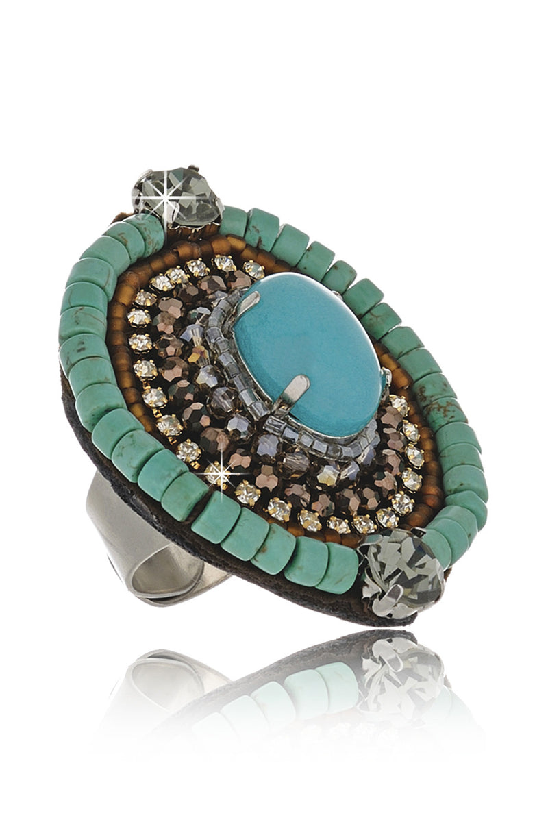 EILEEN Τurquoise Crystal Ring