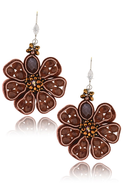 VELLUTO Brown Beaded Earrings
