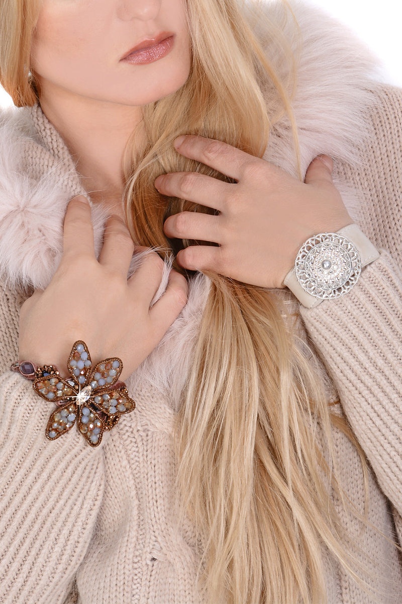 YVE Brown Velour Crystal Bracelet