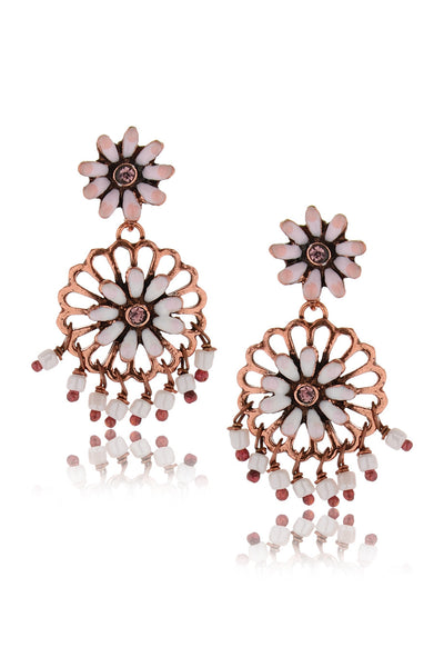 SAKURA Bronze White Earrings