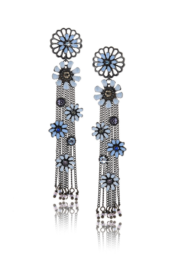 SAKURA Blue Flowers Earrings
