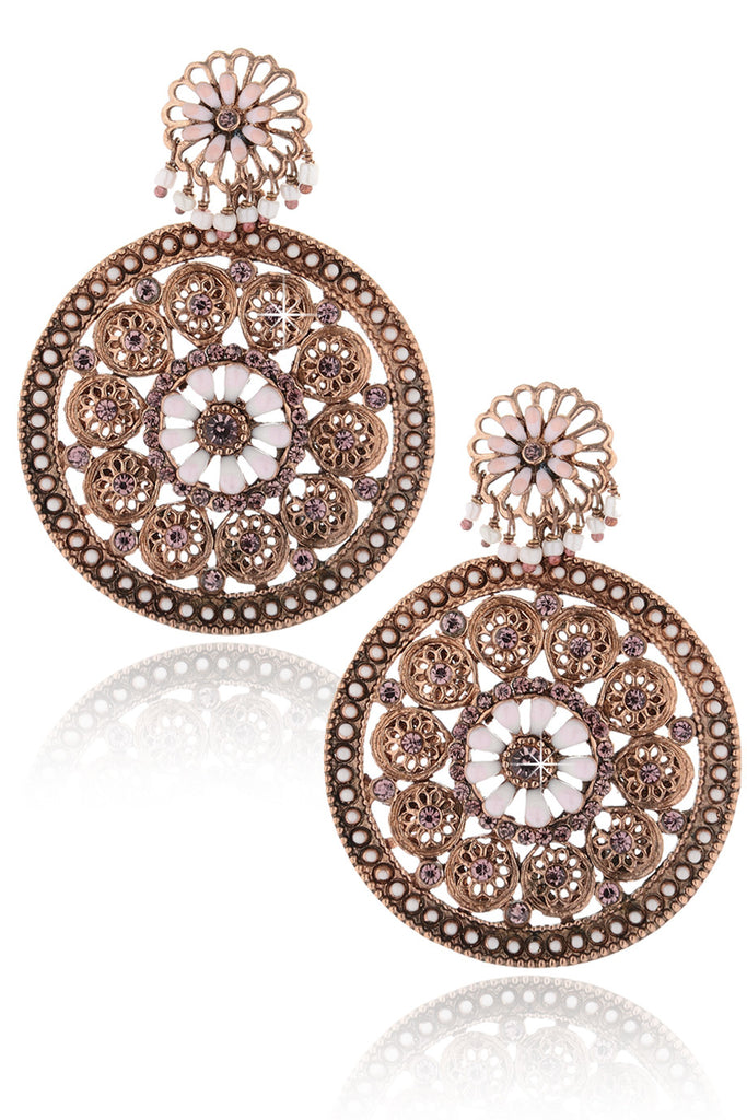 SAKURA Bronze White Flowers Earrings