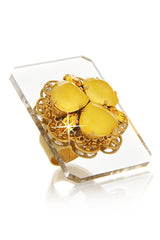 ERICKSON BEAMON ECLECTIC MOGHUL Yellow Crystal Ring