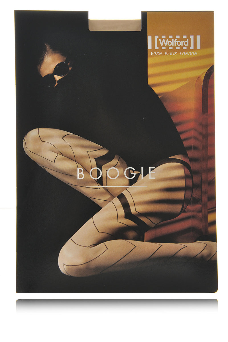 WOLFORD BOOGIE Striped Cosmetic Black Tights 9435