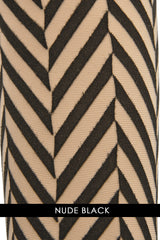 WOLFORD CENTRAL PARK Striped Nude Black Tights 9753