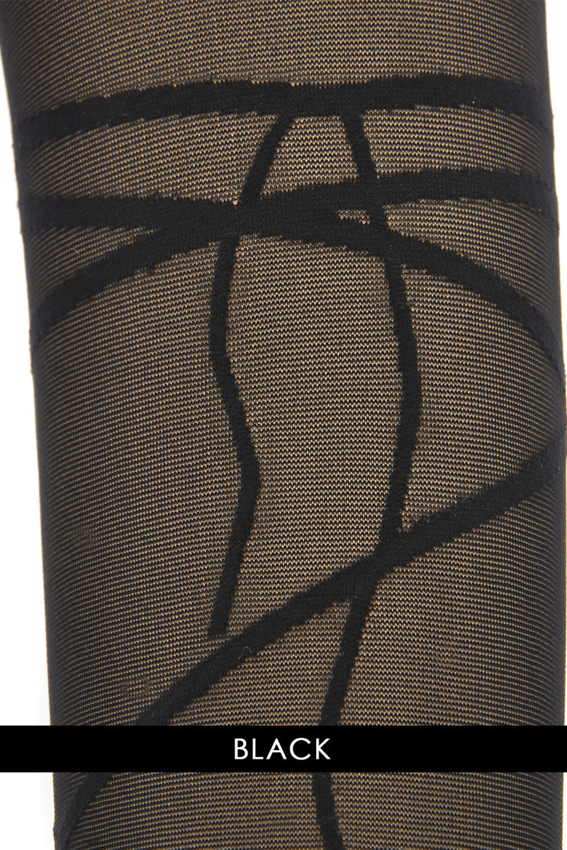 WOLFORD DIANA Sheer Peach Black Tights 7005