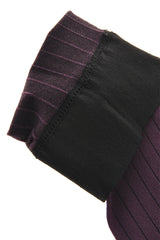 WOLFORD WALL STREET Pin Stripe Knee Highs Lilac Black Socks 9610
