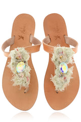 CRYSTAL TURTLE Leather Sandals