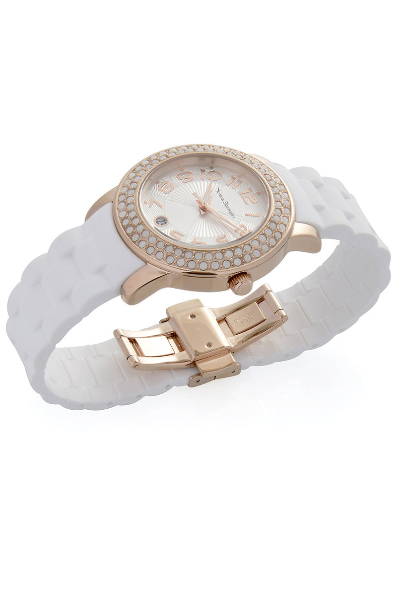 YVES BERTELIN DATE Rose Gold White Crystal Watch