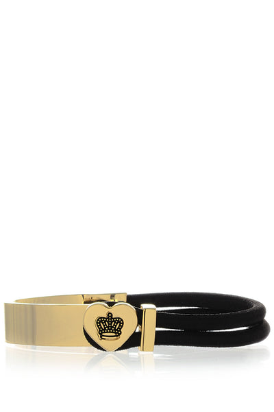 CROWN HEART Black Gold Bracelet