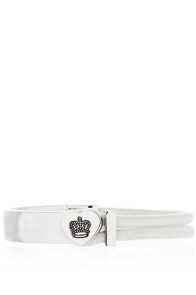 CROWN HEART White Silver Bracelet