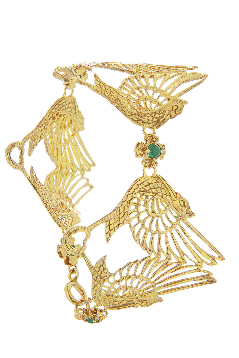 Pelican Bracelet Gold with Green Stone