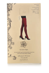 BIRD Wine Red Printed Tights