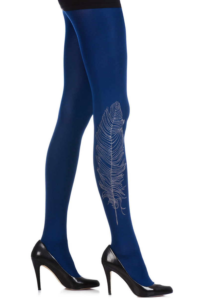 ZOHARA FEATHER Dark Blue Printed Tights