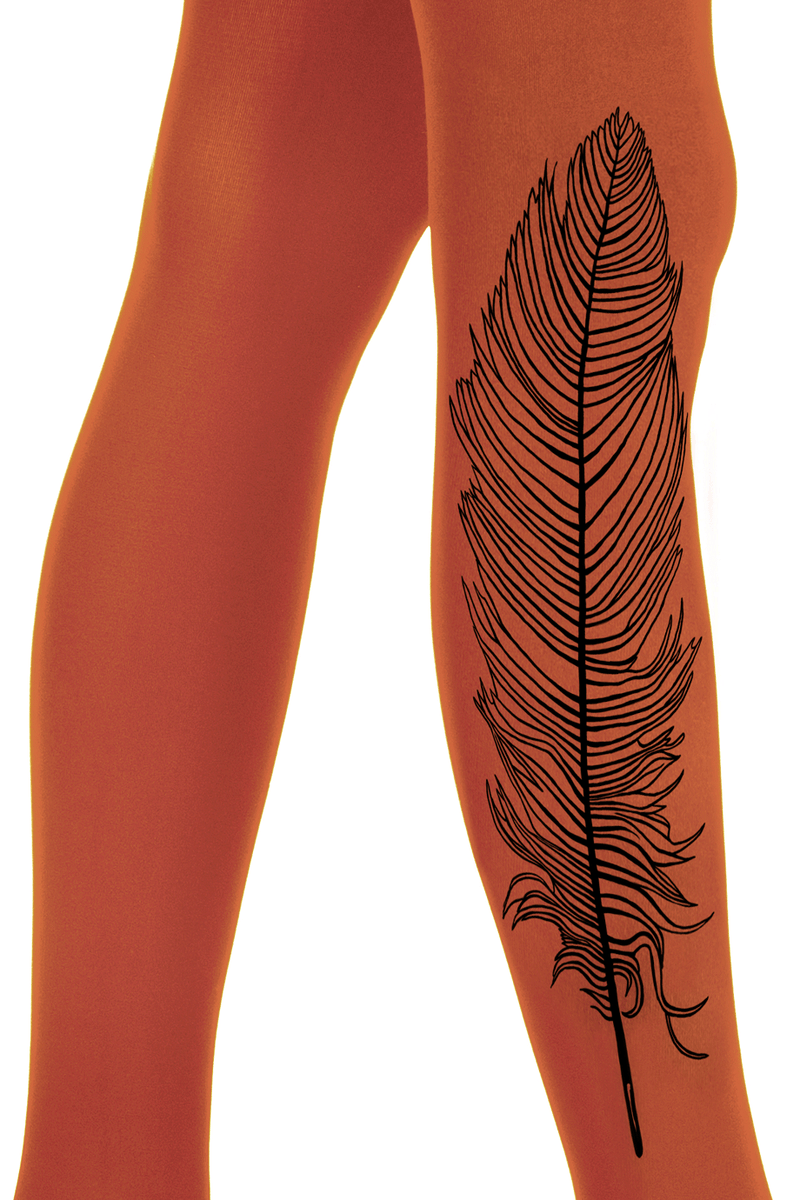 ZOHARA FEATHER Dark Orange Printed Tights
