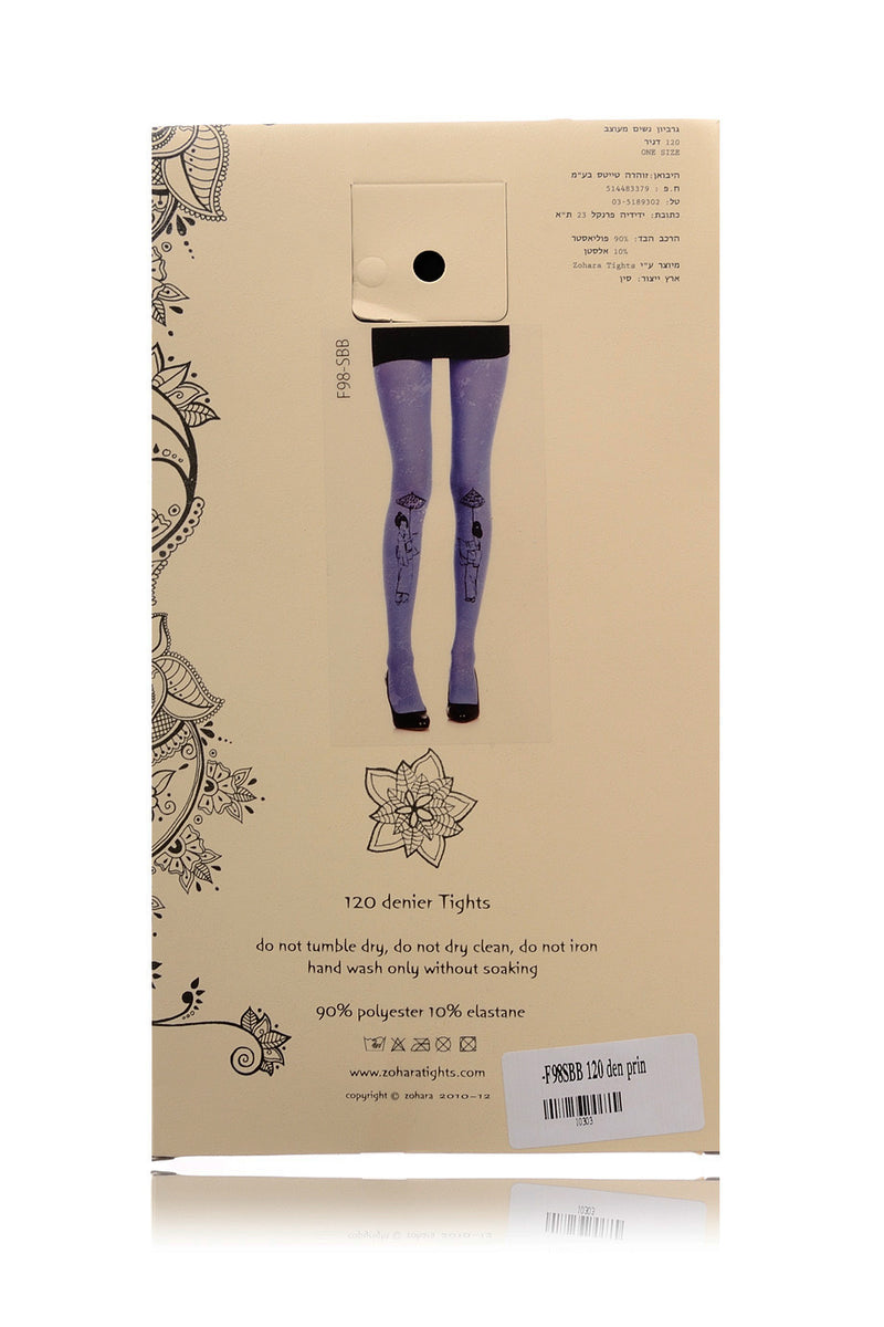 ZOHARA GEISHA Electric Blue Printed Tights