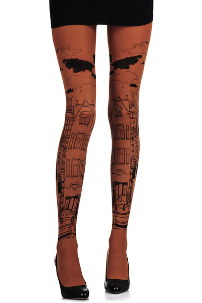 ZOHARA NEIGHBORHOOD Orange Printed Tights
