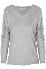 SIBILA Grey Lace Sleeve Sweater