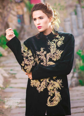 Savor spring in this beautiful embellished velvet jacket with gold work that adds subtle pizzazz. The darker palette of the blazer with bold, gift threading provides texture and depth to Laila's one note look