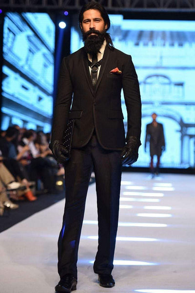 Deepak Perwani - Raisin Black Suit - MST-183