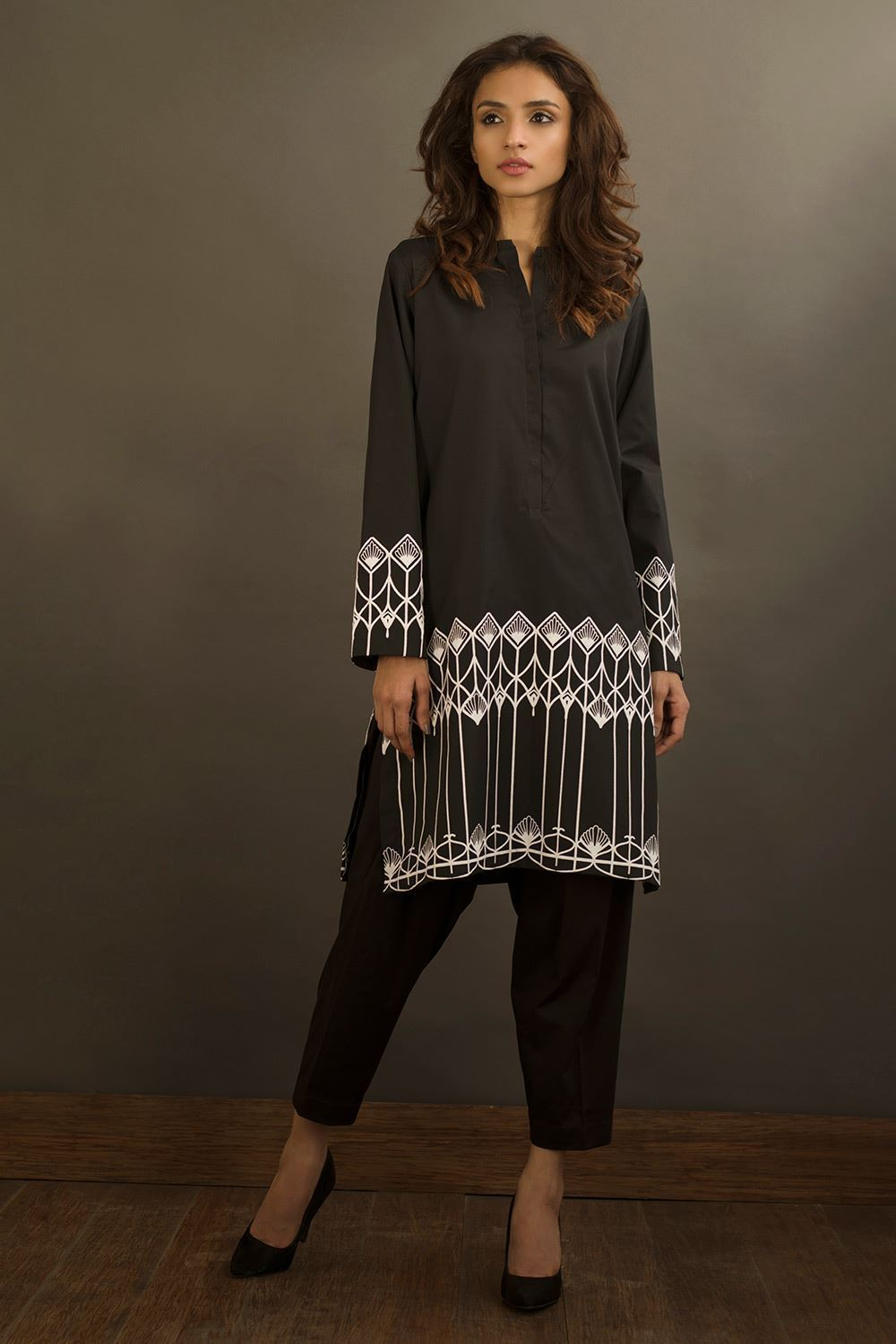 Nida Azwer - Black Geometrical Print Shirt