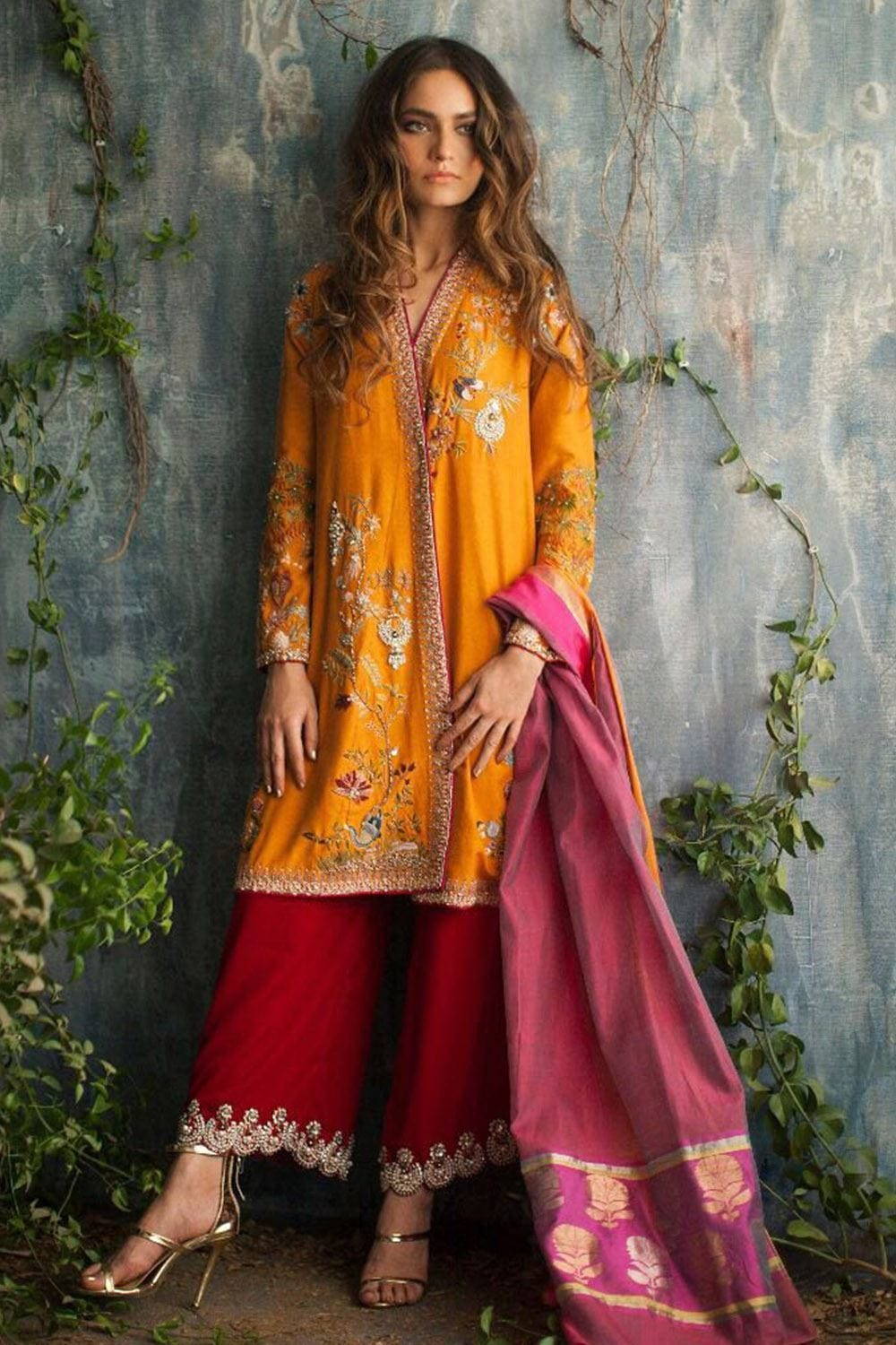 Nida Azwer - Intricately Embellished Chogha With Straight Pants.