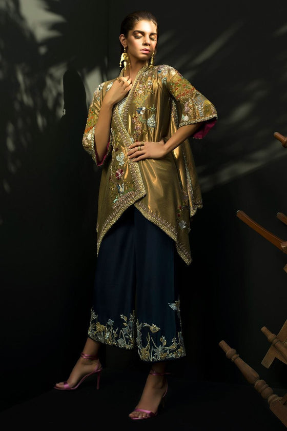 Nida Azwer - Woven Soft Metallic Silk Jacket.