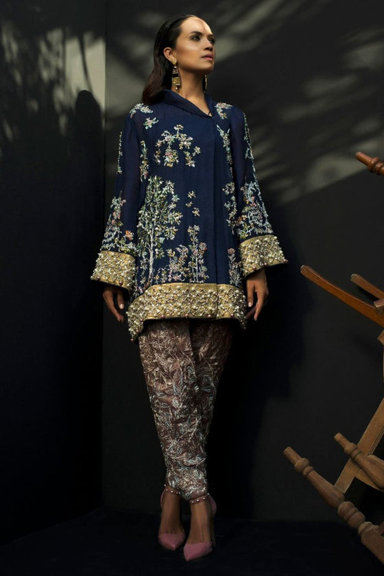 Nida Azwer - Navy Organza Top With Straight Complimentary Pants.