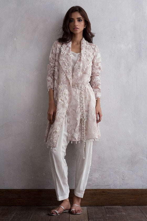 Nida Azwer - Digitally Embroidered Organza Jacket And Shalwar