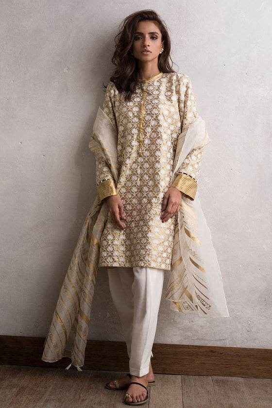 Nida Azwer - Gold Digitally Embroidered Tissue Shirt