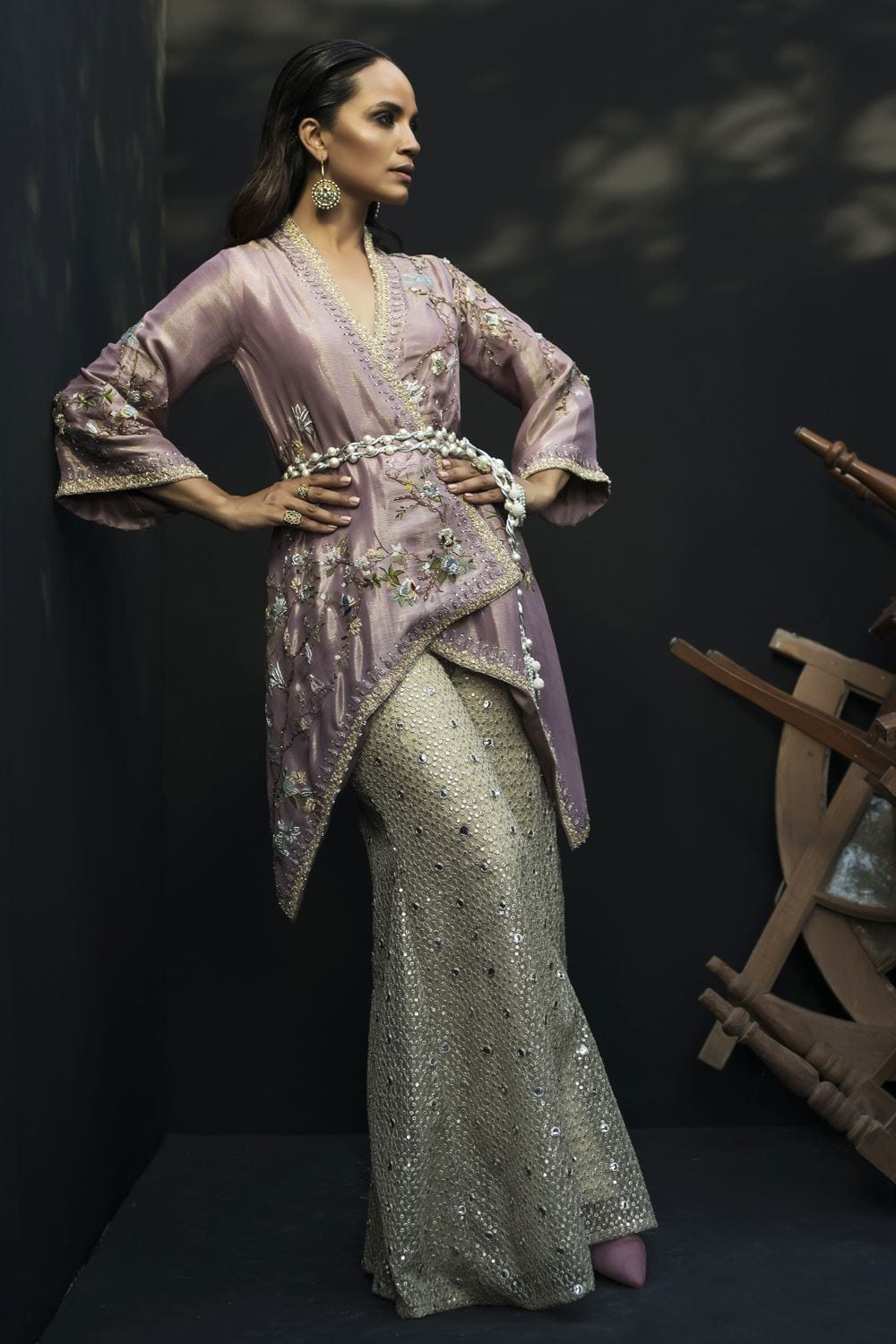 Nida Azwer - Woven Metallic Silk Jacket With Camisole