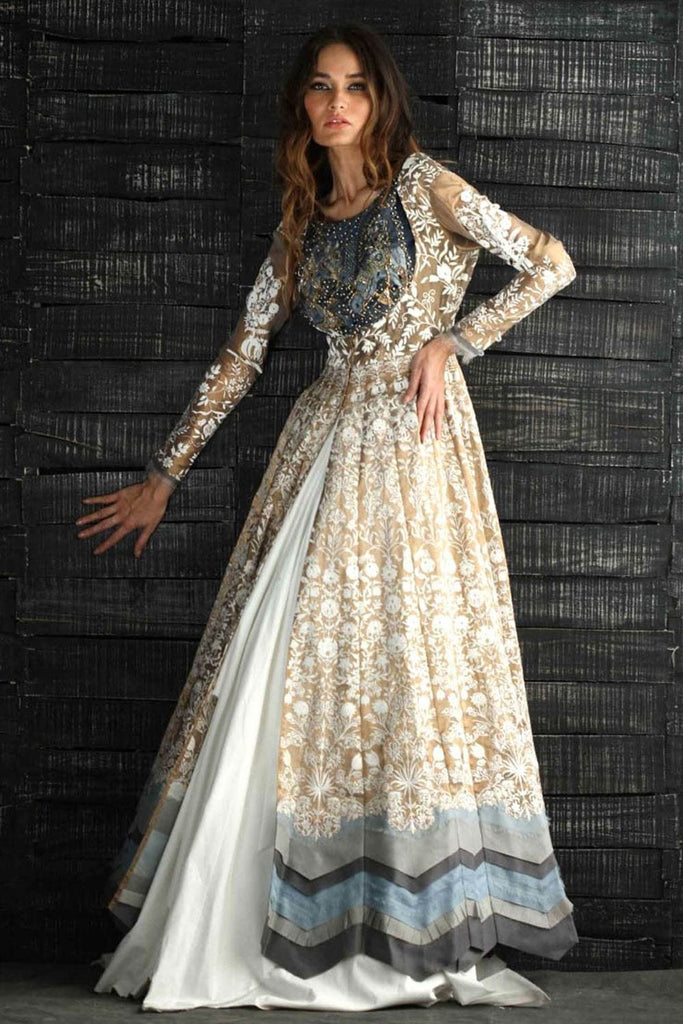 Nida Azwer - Gold Emboss Anarkali With Full Gold Body.