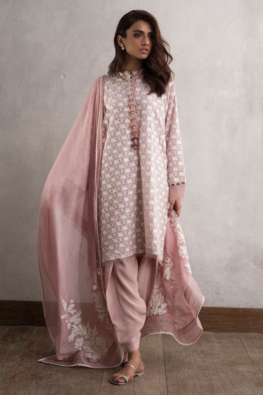 Nida Azwer - Digitally Embroidered Crepe Silk Shirt