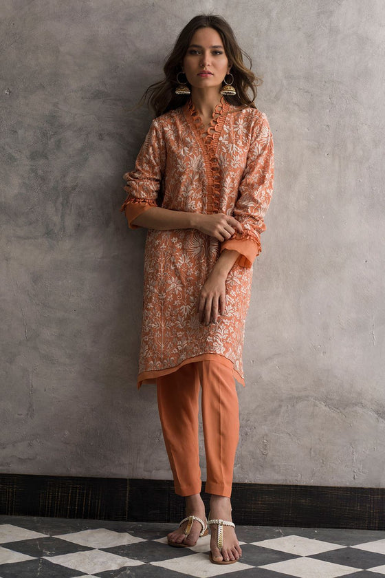 Nida Azwer - Digitally Embroidered Shirt With Silk Pants