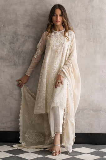 Nida Azwer - Digitally Embroidered Organza Shirt With Silk Pants