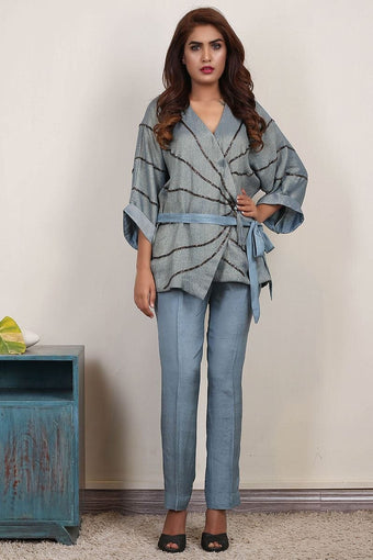 Insam - Blue Wrap Top