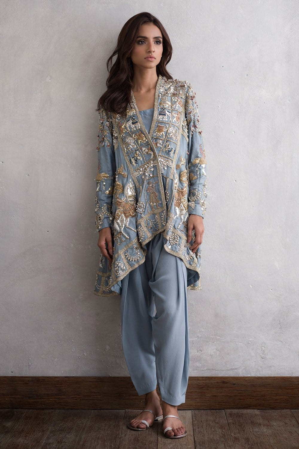 Nida Azwer - Hand Embroidered Zardozi, Resham And Vasli Jacket With Camisole.
