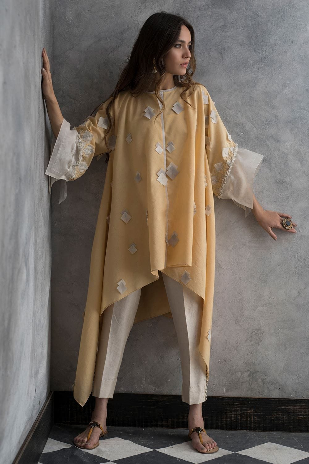 Nida Azwer - Soft Cotton Top with Organza Texture