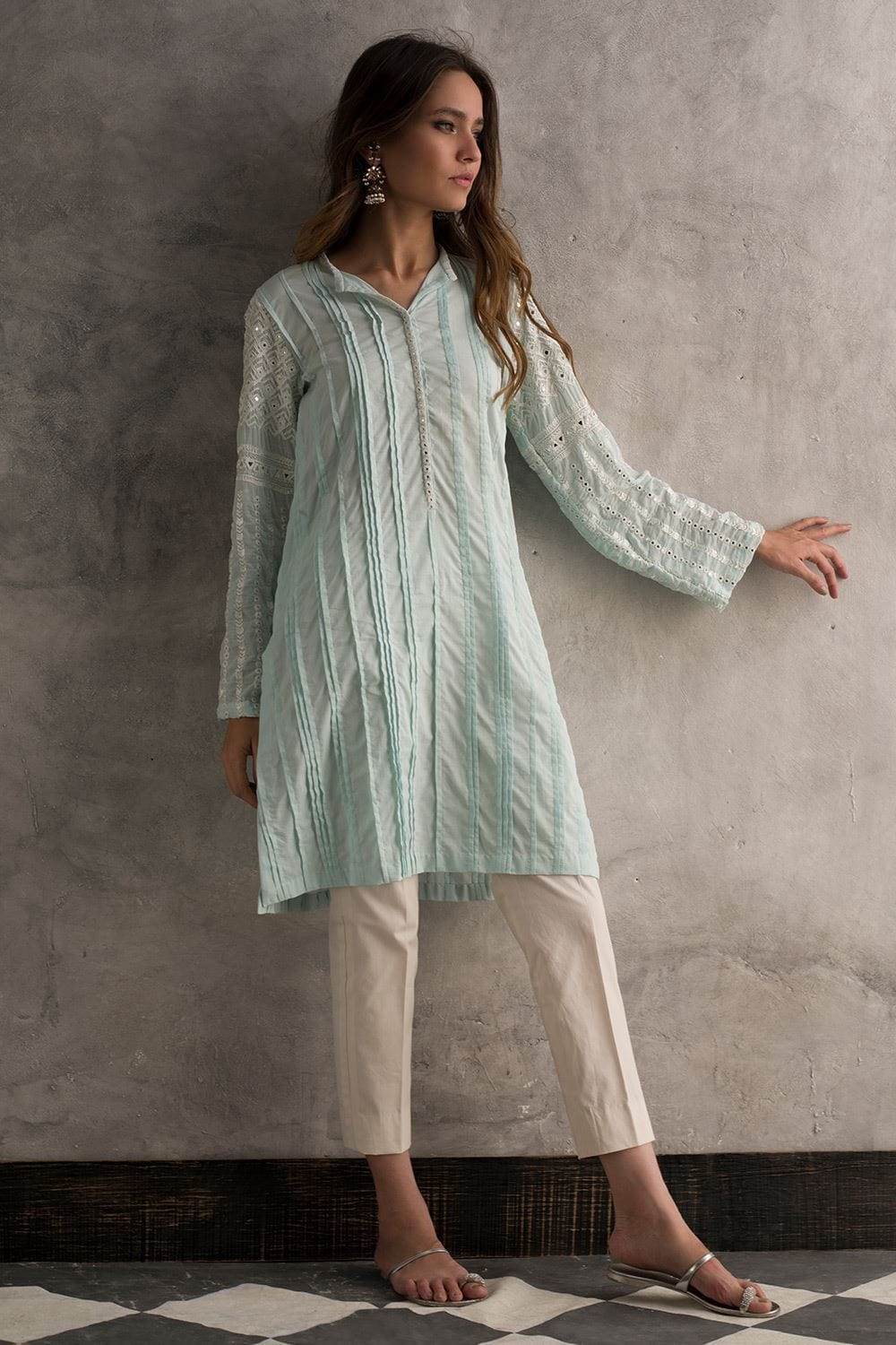 Nida Azwer - Cotton Pleated Shirt