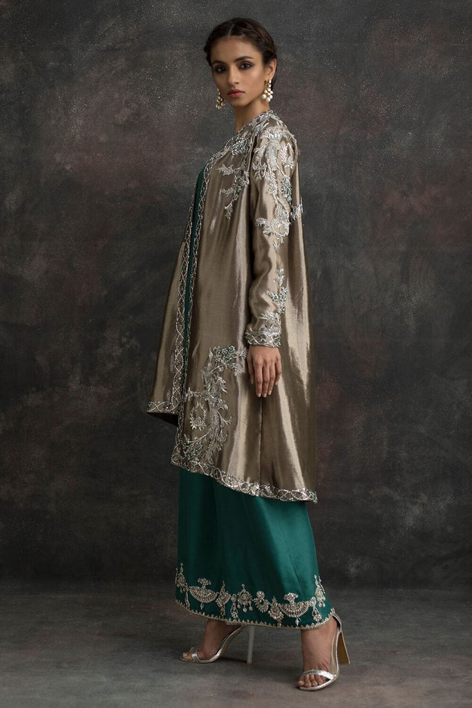 Nida Azwer - Tissue Jacket & Silk Pants