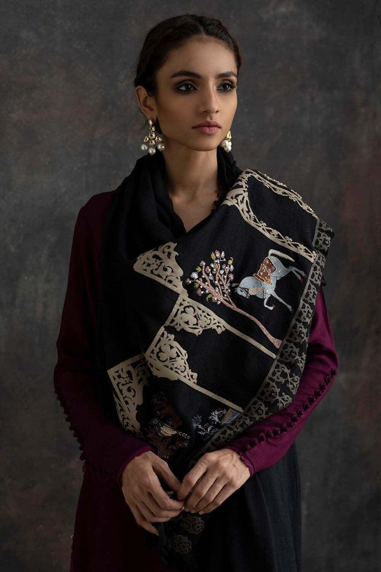 Nida Azwer - Black Shawl With Resham Work And Leather Borders.