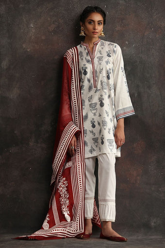 Nida Azwer - White Thick Cotton Shirt