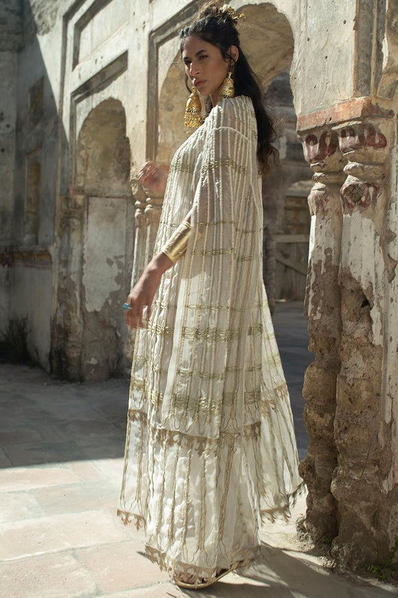 Nida Azwer - White Organza Cape With Camisole And Straight Silk Pants.