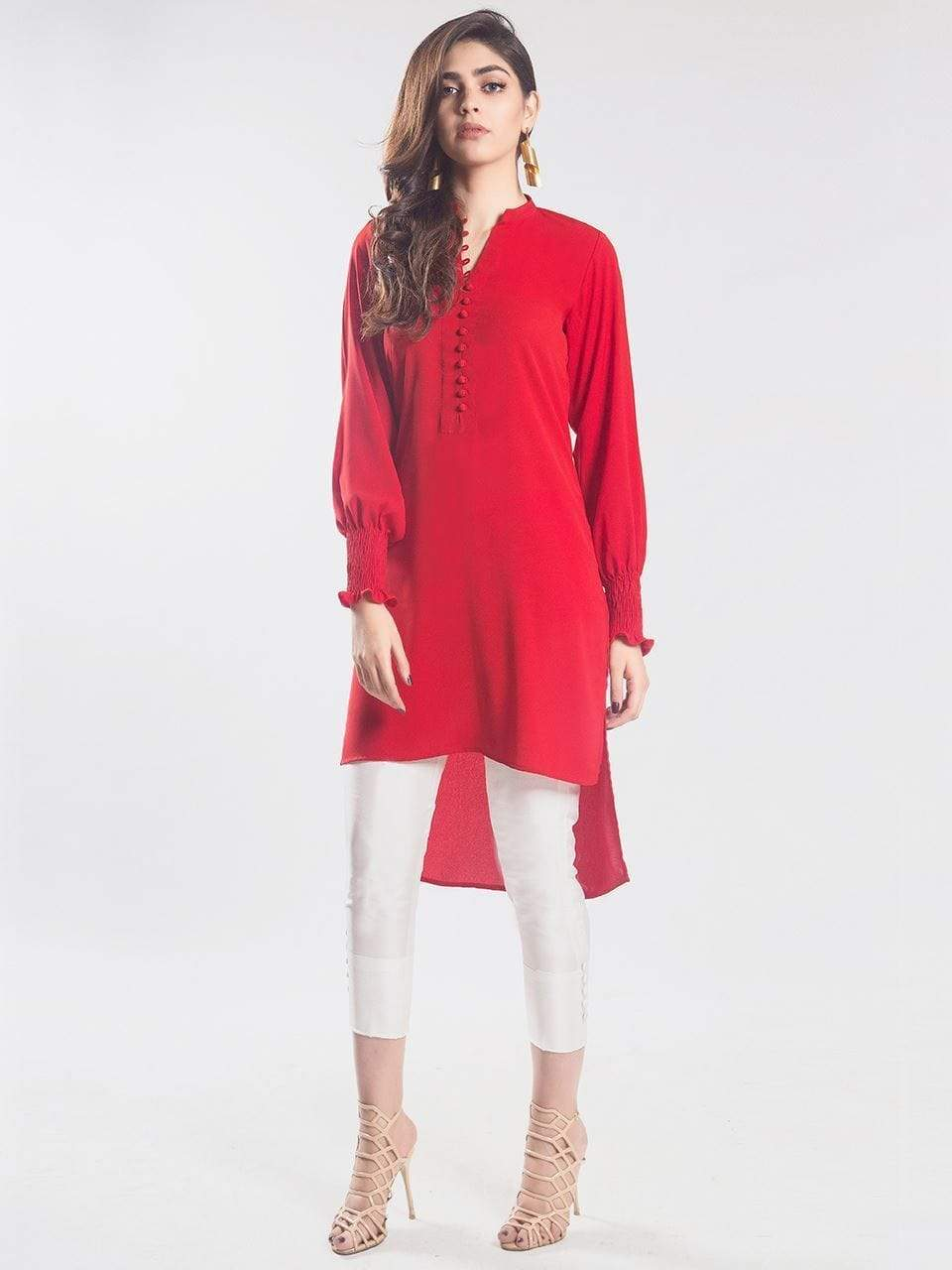 Natasha Kamal - Fumo Solid Colour Tunic Featuring Hand Stitched Smoking Sleeves (One Piece)