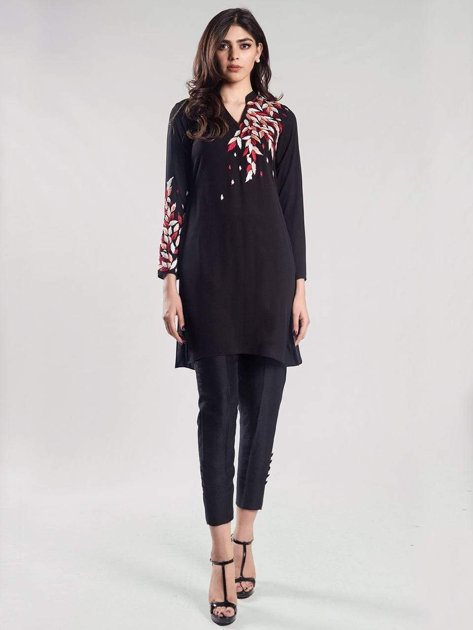 Natasha Kamal -  Pino Black Tunic with multi coloured embroidered filigree (1 piece set)
