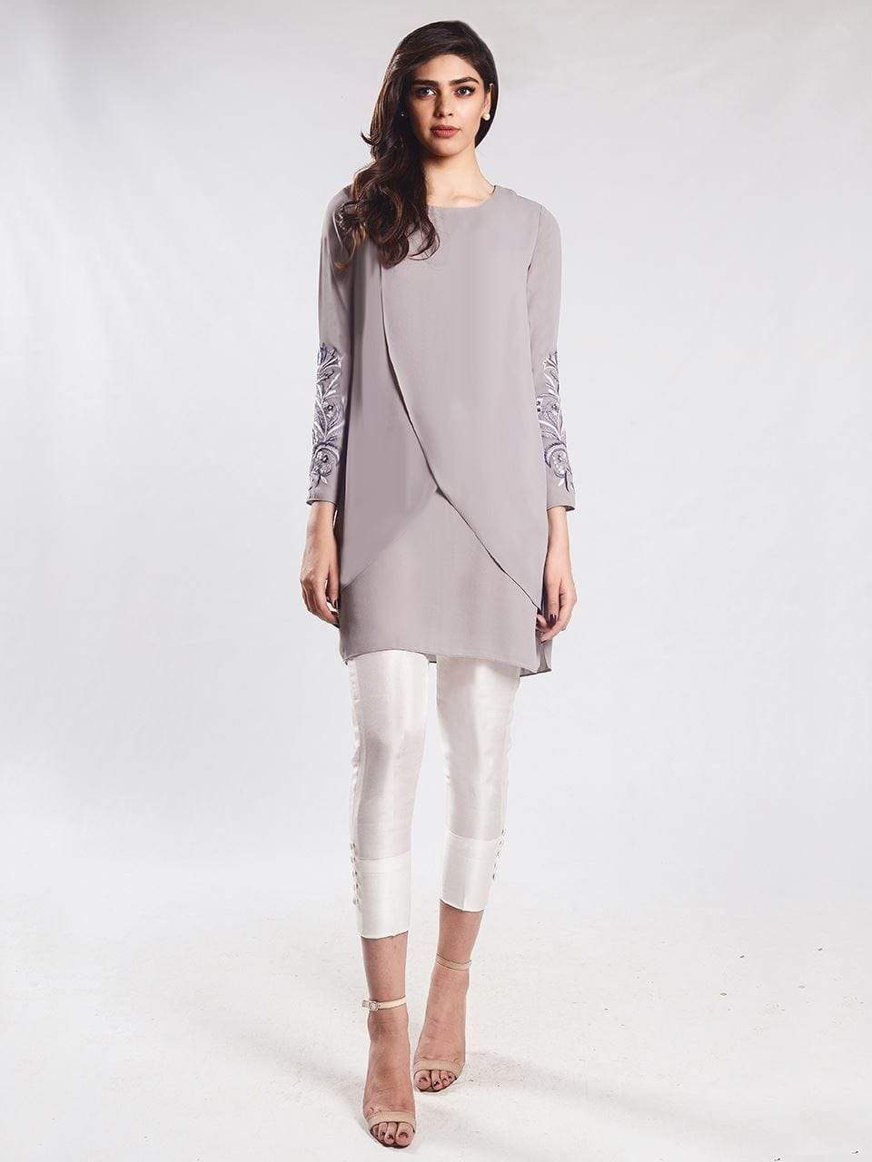 Natasha Kamal -  Bello Grey Cross Over tunic with embroidered sleeves(one piece)