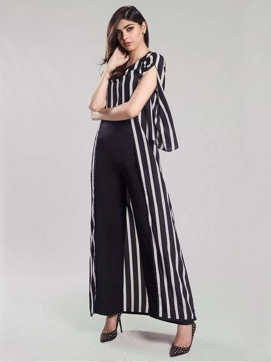 Natasha Kamal -  Reiss Striped black and white u-shaped   one piece)